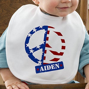 Personalization Mall Personalized Baby Bibs - American Flag Peace Symbol at Sears.com