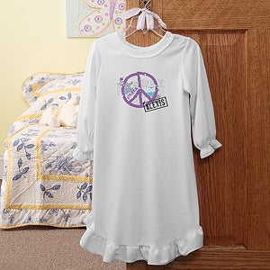 Personalization Mall Personalized Girls Nightgown with Peace Symbol at Sears.com