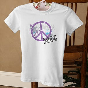 Personalization Mall Personalized Womens Peace Sign Fitted T-Shirt at Sears.com