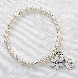 Personalized Flower Girl Bracelet with Initial Monogram - 10503