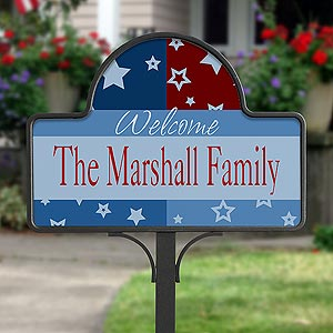 Personalized Family Name Yard Stakes - All American - 10512