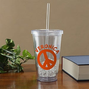 Personalized Acrylic Tumbler - Peace Sign - 10550
