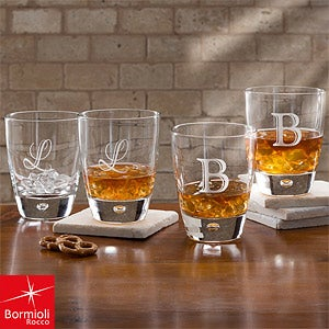 Personalized Initial Monogram Rocks Glasses - Bormioli Rocco - 10568