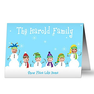Personalized Photo Snowman Family Christmas Cards - 10577