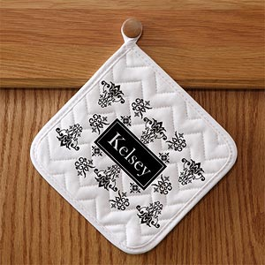 Personalized Chef's Apron & Potholder Set - Damask - 10612