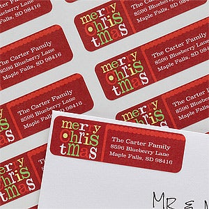 Personalized Return Address Labels - Merry Christmas - 10627