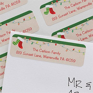 Personalized Holiday Return Address Labels - Christmas Stockings - 10638