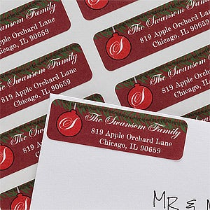 Personalized Holiday Return Address Labels - Christmas Ornaments - 10639