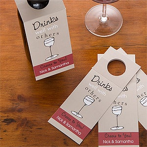 Personalized Wine Bottle Tags - Drinks Well With Others - 10664