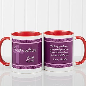 Red Personalized Coffee Mugs For Godparents Baby Gifts