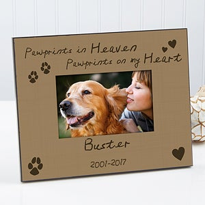 personalized pet memorial picture frame pawprints in heaven 10682