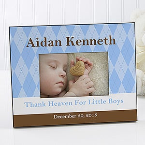 Personalized Baby Photo Frame - Classic Argyle - 10692