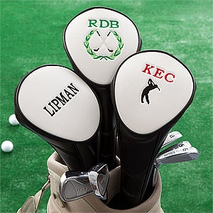 Peronalized Golf Club Head Cover - Black - 10723