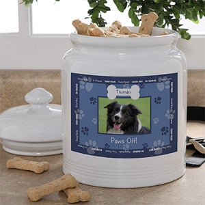 Personalized Photo Dog Treat Jar - Throw Me A Bone - 10724
