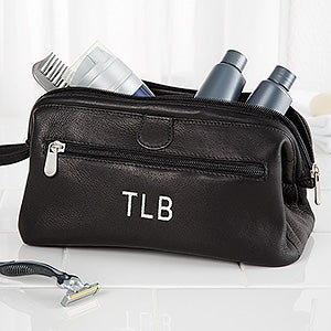 personalized toiletry bag black leather