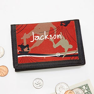 Personalized Boys Wallet - Skateboard - 10732