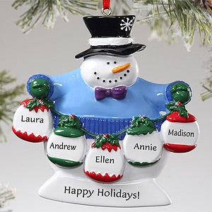 Personalization Mall Custom Frosty Snowman Christmas Ornament - 5 Names at Sears.com