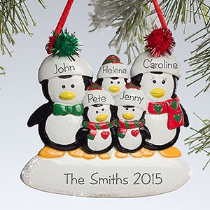 Personalized Family Christmas Ornaments - Penguins - 10775