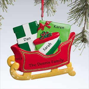 Personalization Mall Santa's Sleigh Personalized Christmas Ornament - 3 Names at Sears.com