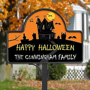 personalized halloween yard decorations haunted house yard stake 10812 - Personalized Halloween Decorations