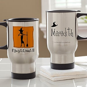 Personalized Halloween Travel Mug - Witch With Attitude - 10818