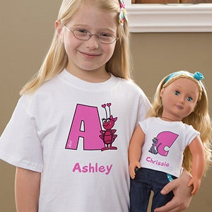 Personalization Mall Personalized Girls T-Shirt & Doll Clothes Set - Alphabet Animals at Sears.com
