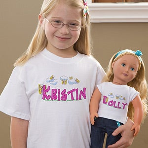 Personalization Mall Girls Personalized T-Shirt & Doll Clothes Set - Butterfly Garden at Sears.com
