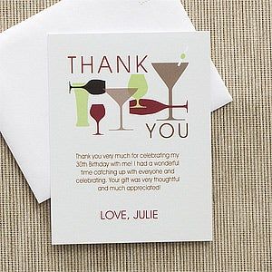 Personalized Birthday Thank You Cards - Raise Your Glass - 10840