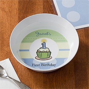 Personalized Boys First Birthday Dinner Set - Plate & Bowl - 10861D
