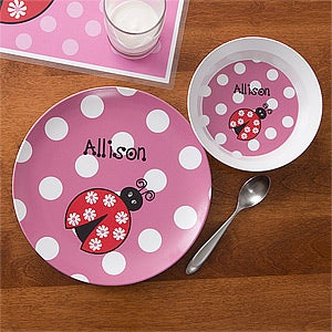 Personalized Girls Plate u0026 Bowl Dinner Set - Ladybug - 10862D : custom made dinner plates - pezcame.com