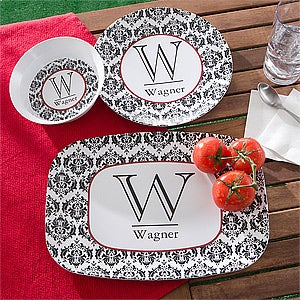 Personalized Melamine Dinnerware Set - Damask Family Name & Initial - 10864D