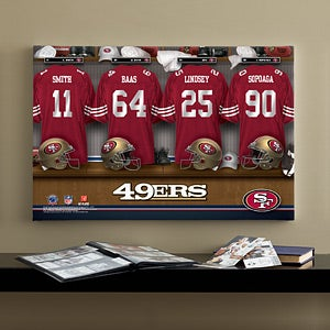 Personalized San Francisco 49ers NFL Locker Room Canvas Print - 10873