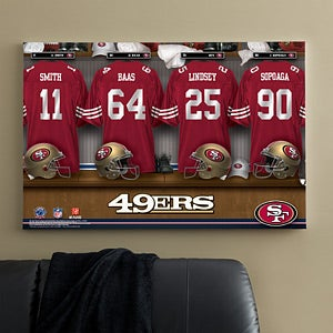 Personalized san francisco 49ers nfl locker room canvas for 49ers room decor