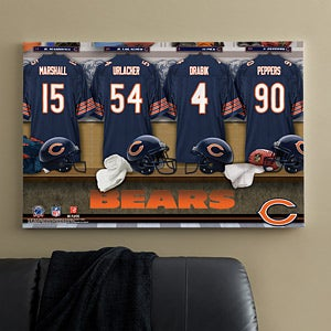 Personalized Chicago Bears NFL Locker Room Canvas Print - 10874
