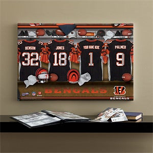 Personalized Cincinnati Bengals NFL Locker Room Canvas Print - 10875