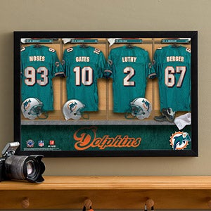 Personalized Miami Dolphins NFL Locker Room Canvas Print - 10894