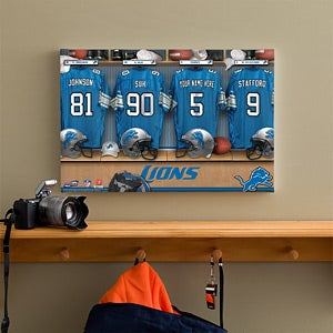 Personalized Detroit Lions NFL Locker Room Canvas Print - 10900