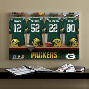 Personalized Green Bay Packers NFL Locker Room Canvas Print - 10901