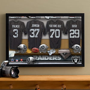 Personalized Oakland Raiders NFL Locker Room Canvas Print - 10908