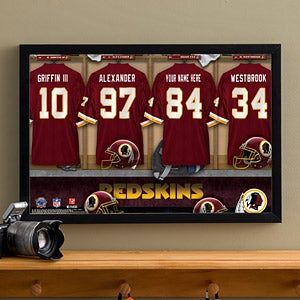 Personalized Washington Redskins NFL Locker Room Canvas Print - 10911