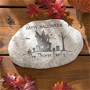 Personalized Halloween Garden Stone - Haunted House - 10922