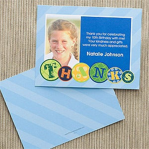 Kids Personalized Photo Birthday Party Thank You Note Cards - Children's birthday thank you notes