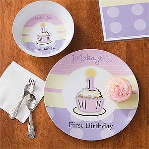 First Birthday Girl Personalized Melamine Dinnerware & Personalized Girls First Birthday Dinner Set - Plate u0026 Bowl
