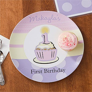 First Birthday Girl Personalized Melamine Plate : melamine personalized plates - pezcame.com