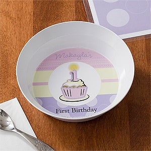 Personalized Girls First Birthday Dinner Set - Plate & Bowl - 10929D