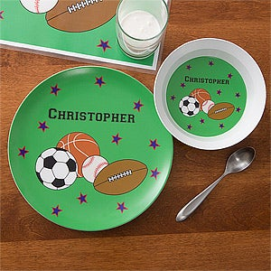 Personalized Kids Dinner Set - Boys Sports Plate \u0026 Bowl - 10941D & Personalized Kids Dinner Set - Boys Sports Plate \u0026 Bowl