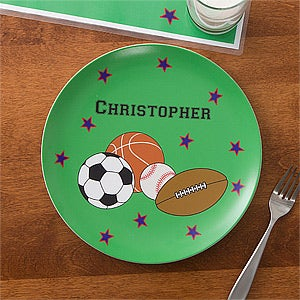 Personalized Kids Dinner Set - Boys Sports Plate & Bowl - 10941D