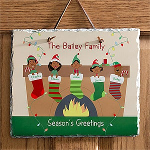 Personalized Christmas Wall Plaque - Christmas Stocking Family Characters - 10947