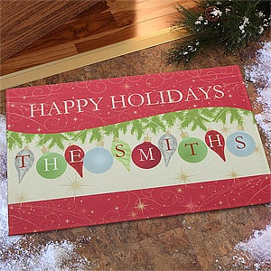 Personalized Christmas Doormats - Deck The Halls Ornaments - 10961