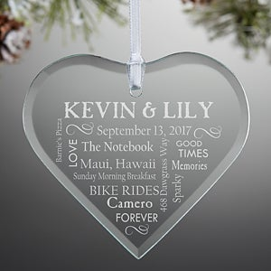 Personalized Christmas Ornaments  Wedding Heart